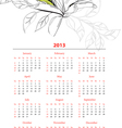 template for calendar 2013 with flowers vector image vector image