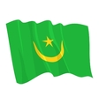 political waving flag of mauritania vector image vector image
