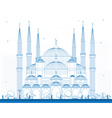 Outline Blue Mosque in Istanbul Turkey vector image
