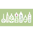 Aromatic Plants And Bottles Silhouettes vector image