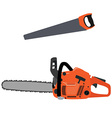 Chainsaw and hand saw vector image