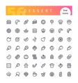 Dessert and Sweet Pastry Line Icons Set vector image