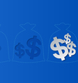 Dollar Signs and Money Bags Blue Background vector image