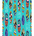 Seamless pattern with bright surfboards and vector image