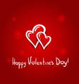 Valentines day card background two hearts hand vector image