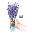 watercolor hand with lavender bouquet vector image