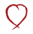 Red heart hand drawn icon vector image vector image