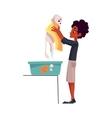 Black African teenage boy washing bathing white vector image