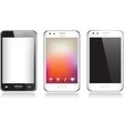 Set of three realistic mobile phone isolated on vector image vector image