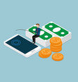 businessman fishing money from smartphone vector image vector image