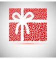 Christmas card gift box with ribbon vector image