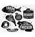Eat symbol vintage lettering eggs apple chicken vector image