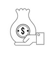 dotted shape businessman with bag cash money in vector image