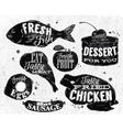 Eat symbol vintage lettering eggs apple chicken vector image