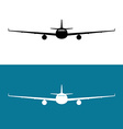 Passenger plane front view black silhouette vector image