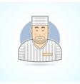 Prisoner inmate jailed man in prison robe icon vector image