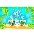 White Sunglasses reflection sunset at palm tree vector image