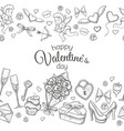 seamless horizontal borders with sketch valentines vector image