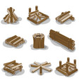 campfire stumps logs collection isolated on white vector image