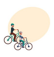 young man riding bicycle cycling together with vector image