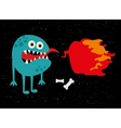 Monster with fire banner vector image