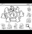 Match silhouettes game coloring page vector image