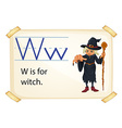 A letter W for witch vector image