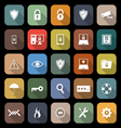Security flat icons with long shadow vector image