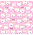 Patches kitten and hearts seamless pattern vector image