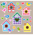 Birdhousesbirds and flowers vector image vector image