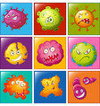 Bacteria with faces on badge vector image
