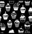 black and white cupcakes pattern vector image