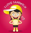 happy woman carrying big sandwich vector image