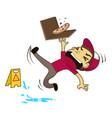 pizza boy slipping on wet floor vector image