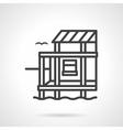 Riverside cottage black line design icon vector image
