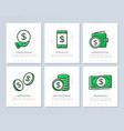 set of bank and money colored elements for vector image