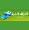 delivery milk truck vector image vector image