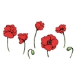 Set of bright artistic poppies vector image