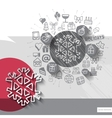 Hand drawn snowflake icons with icons background vector image