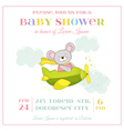 Baby Shower or Arrival Card - Baby Mouse Girl vector image