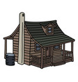 old planked house vector image