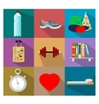 Set of flat healty life style concept icons vector image
