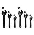 Set of mechanical wrenches with nuts Silhouettes vector image