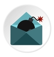 Hacking e-mail icon flat style vector image