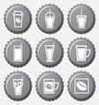 Coffee cup icon on bottle caps set vector image