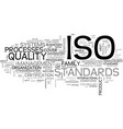 What is iso text word cloud concept vector image