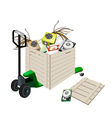 Pallet Truck Loading Hardware Computer in Shipping vector image