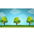 Scene with trees and grass vector image vector image