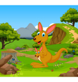 funny kangaroo cartoon in the jungle vector image vector image