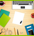 business office and workplace top view background vector image
